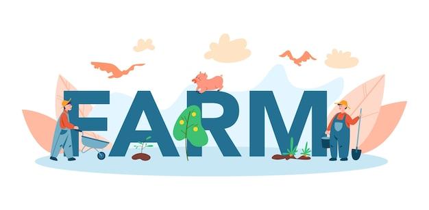 Fazenda, conceito de cabeçalho tipográfico de agricultor. agricultores trabalhando no campo, regando plantas e alimentando animais. vista do campo de verão, conceito de agricultura. viver na aldeia. Vetor Premium