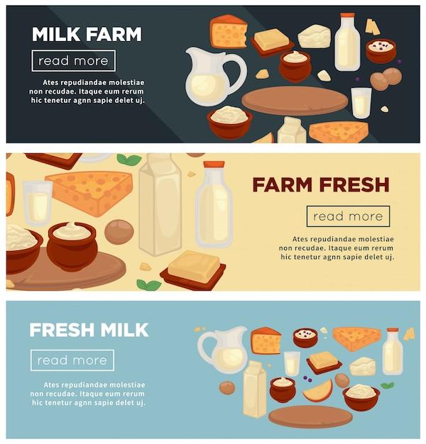 Fazenda de leite fresco promocional indernet conjunto de bandeiras Vetor Premium