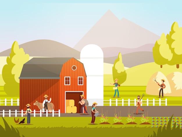 Fazenda dos desenhos animados com agricultores, animais de fazenda e equipamentos Vetor Premium
