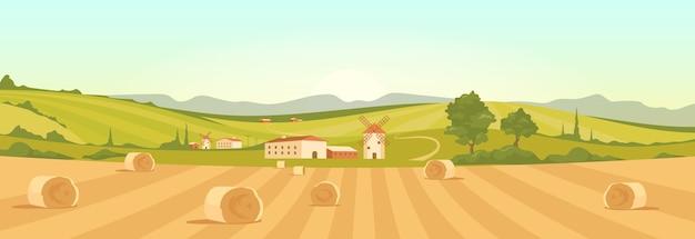 Fazenda em ilustração de cor plana de campo. farmland 2d cartoon paisagem com montanhas no fundo. Vetor Premium