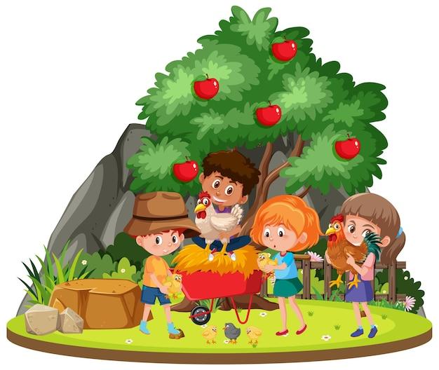 Fazenda isolada com crianças Vetor Premium