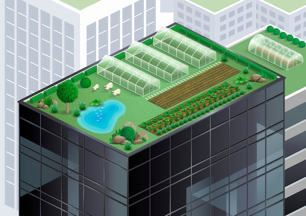 Fazenda no telhado Vetor Premium