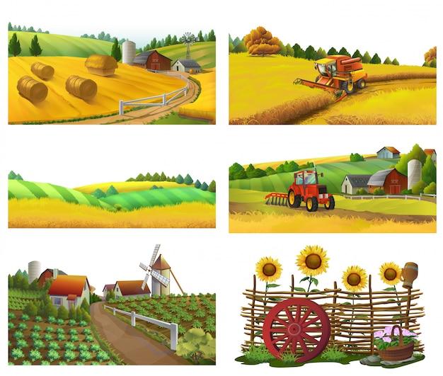 Fazenda, paisagem rural, conjunto de vetores Vetor Premium