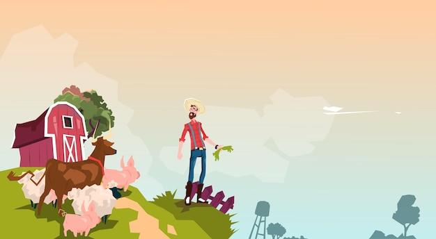 Fazendeiro breeding animals farmland background Vetor Premium
