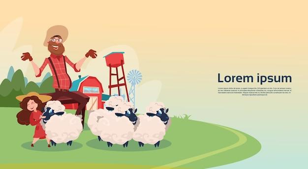Fazendeiro breeding sheep wool farm ilustração vetorial plana Vetor Premium