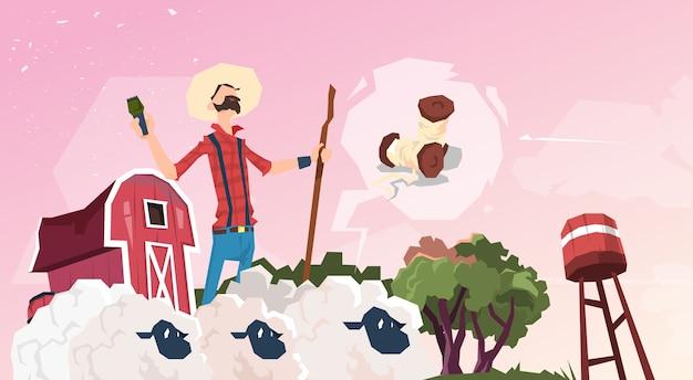 Fazendeiro, criando, ovelha, lã, fazenda Vetor Premium