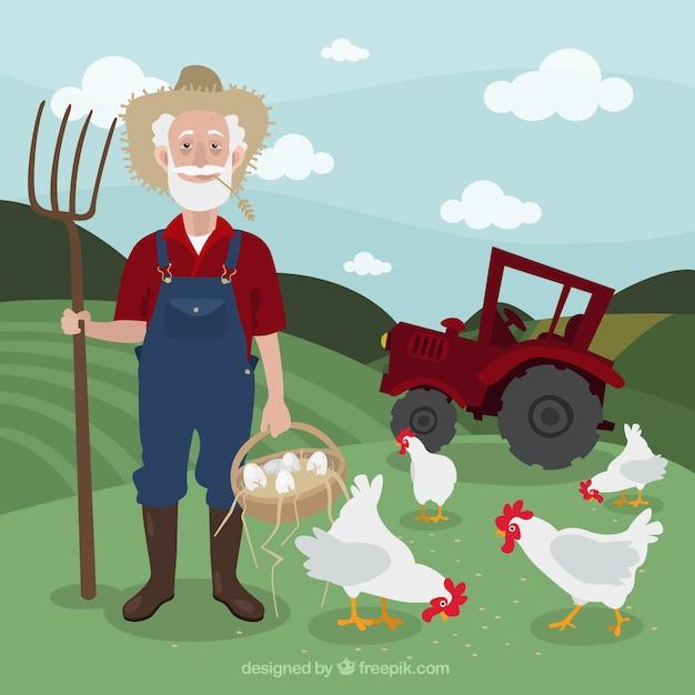Fazendeiro em uma paisagem agrícola com galinhas Vetor grátis