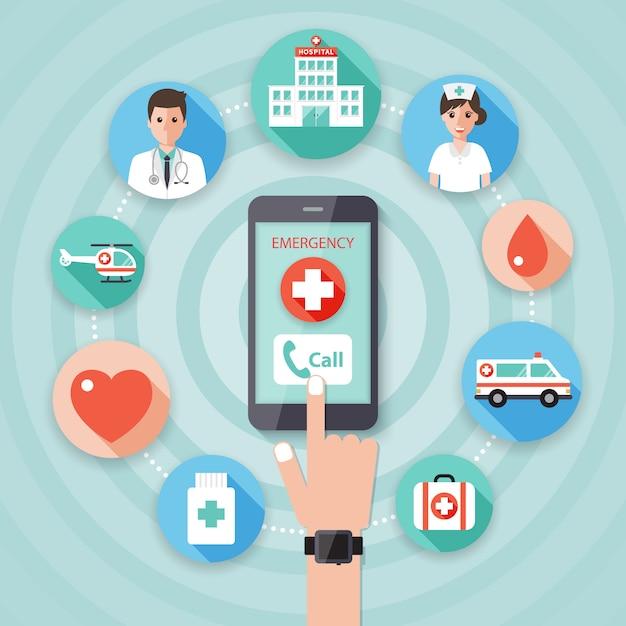 Fazendo uma chamada de emergência para os médicos. Vetor Premium