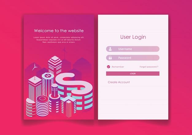 Fazer login no design da página Vetor Premium
