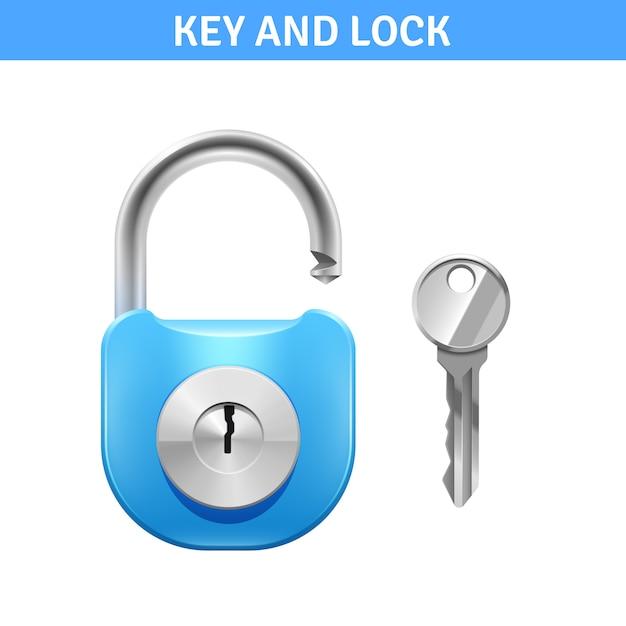 Fechadura de metal e chave para a segurança Vetor grátis