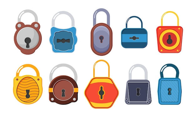 Fechaduras abertas e fechadas. uma coleção de cadeados dourados de várias formas e condições. cadeado dourado aberto, desbloqueado e bloqueado para proteção e segurança. estilo simples. Vetor Premium