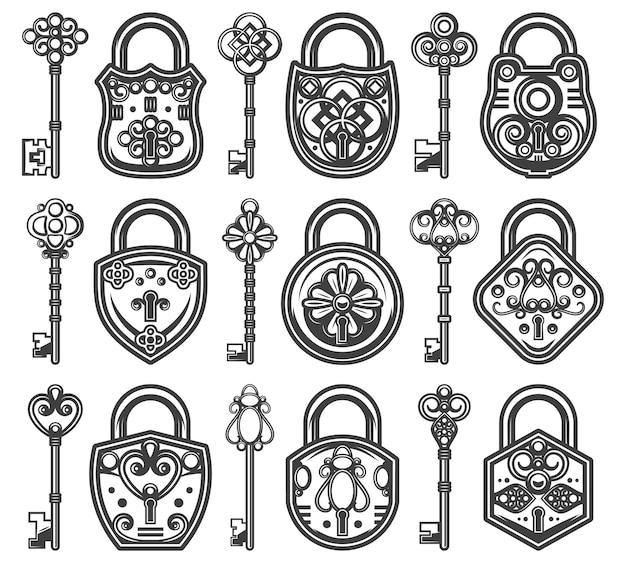 Fechaduras antigas antigas vintage conjunto com diferentes chaves clássicas para cada um dos cadeados Vetor grátis