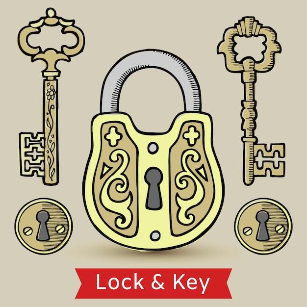 Fechamento de chaves do vintage e ilustração isolada buracos da fechadura. Vetor Premium