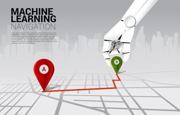 Feche acima da mão do marcador do pino do lugar do lugar do robô na rota do sentido no mapa de estradas. conceito de ai aprendendo máquina e sistema de navegação. Vetor Premium