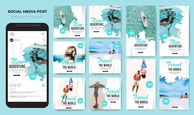 Feed de postagem de mídia social do conjunto de viagens do instagram Vetor Premium