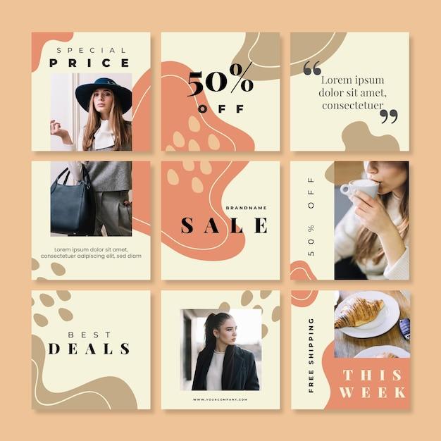 Feed de quebra-cabeça de vendas instagram com nove modelos Vetor Premium
