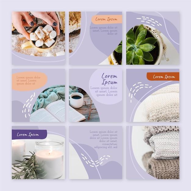 Feed de quebra-cabeça instagram de planta suculenta e café Vetor Premium