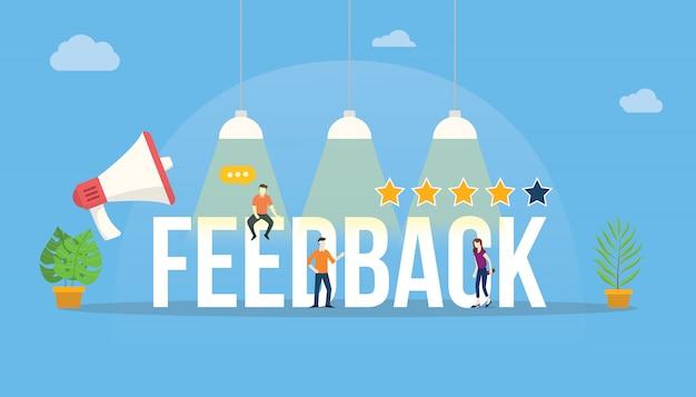 Feedback big word customer rating com equipe de pessoas Vetor Premium