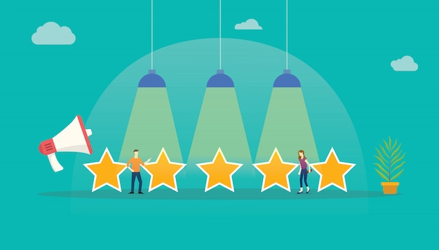 Feedback da estrela da avaliação de cliente Vetor Premium
