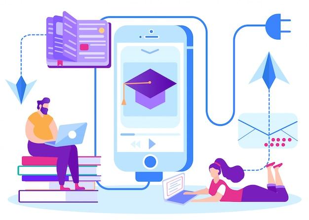 Feedback do sistema de aprendizagem à distância. e-learning. Vetor Premium