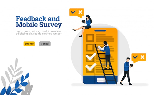 Feedback e mobile survey. para pesquisa precisa de ilustração vetorial para página de destino Vetor Premium