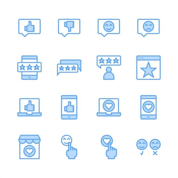 Feedback e revisão do cliente relacionados ao conjunto de ícones Vetor Premium