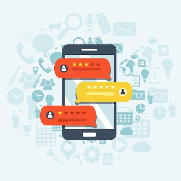 Feedback, mensagens de depoimento e conceito de notificações Vetor Premium