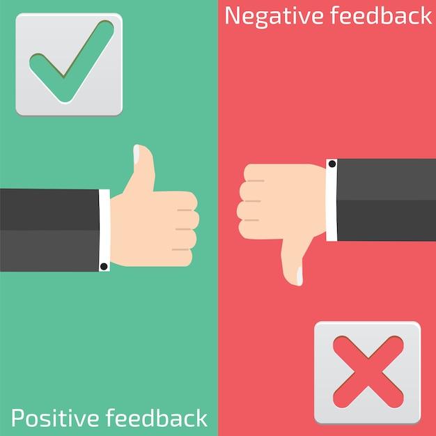 Feedback positivo e feedback negativo Vetor Premium