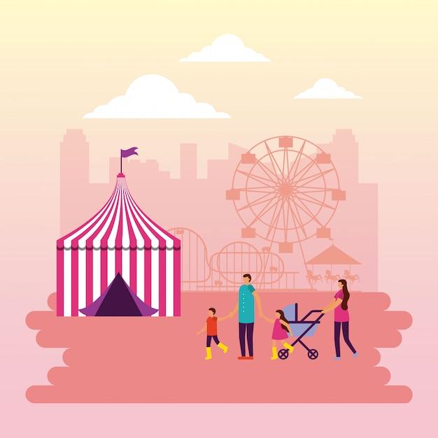 Feira de circo Vetor Premium