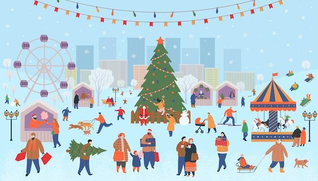 Feira de férias, natal no parque. grande conjunto de pessoas no inverno. pessoas caminhando, comprando presentes, bebendo café, patinando, esquiando, fazendo um boneco de neve, passeando com cachorros. ilustração em vetor plana dos desenhos animados. Vetor Premium