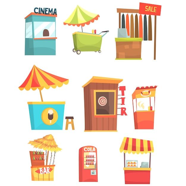 Feira e mercado de comida de rua e quiosques de lojas Vetor Premium