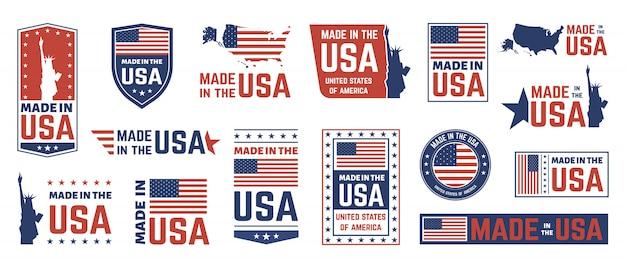 Feita no rótulo dos eua. emblema da bandeira americana, ícone de rótulos de nação orgulhosa patriota e estados unidos rótulo conjunto de símbolos de selos. etiquetas de produtos dos eua, emblemas do dia da independência nacional Vetor Premium