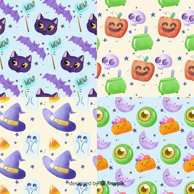 Feitiçaria em aquarela coleção de padrão de halloween Vetor grátis