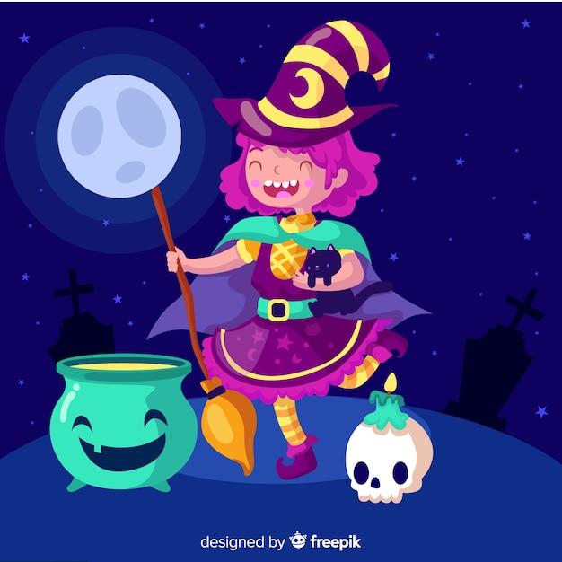Feitiços de fundição jovem bruxa de halloween Vetor grátis