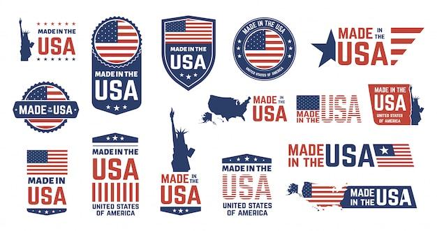 Feito em emblemas dos eua. patriota orgulhoso rótulo carimbo, bandeira americana e símbolos nacionais, conjunto de emblemas patrióticos dos estados unidos da américa. etiquetas de produtos dos eua, emblemas do dia da independência nacional Vetor Premium