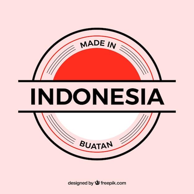 Feito na etiqueta da indonésia Vetor grátis