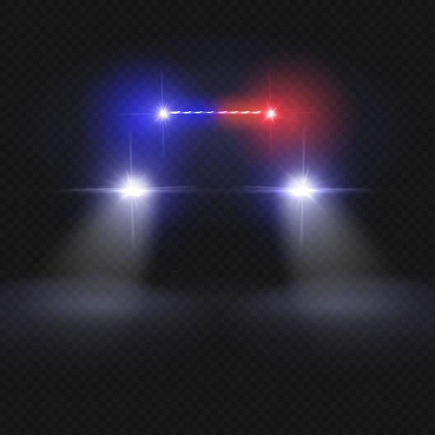 Feixes de farol de carro de polícia. automóvel no conceito de vetor de estrada de noite. luz do carro de polícia, auto farol na ilustração da noite Vetor Premium