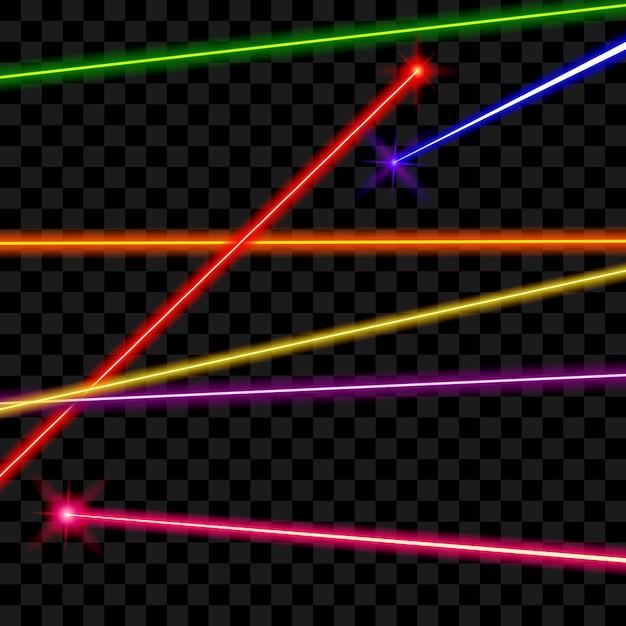 Feixes de laser de vetor em fundo xadrez transparente. energia de raio, linha brilhante, ilustração em cores brilhantes Vetor grátis