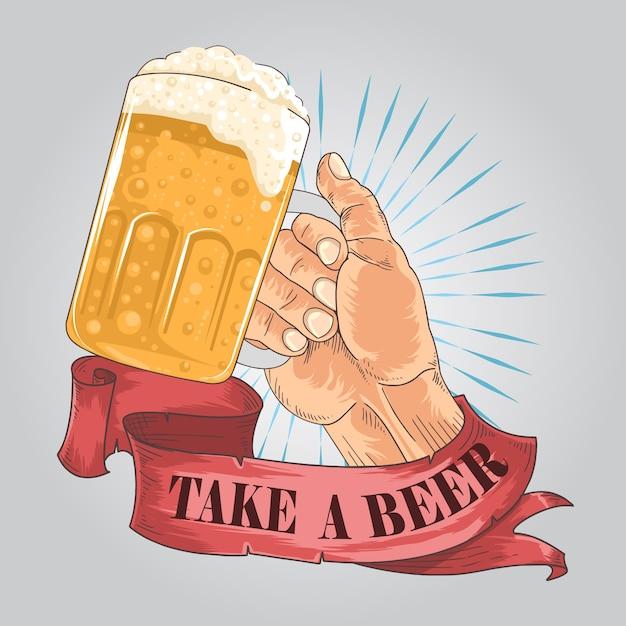 Felicidades cerveja Vetor Premium