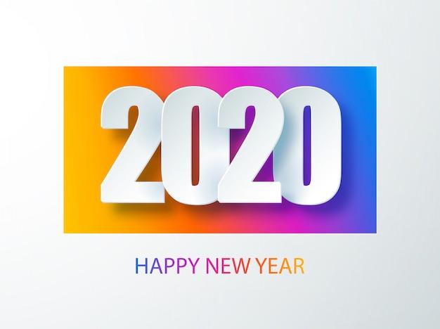 Feliz 2020 ano novo banner de cor no estilo de papel para seus folhetos de férias sazonais. capa do diário de negócios para 2020 com desejos. saudações e convites, parabéns com tema de natal e cartões. Vetor Premium