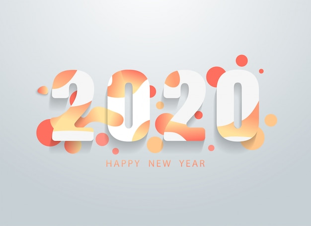Feliz 2020 ano novo com fundo colorido formas geométricas Vetor Premium