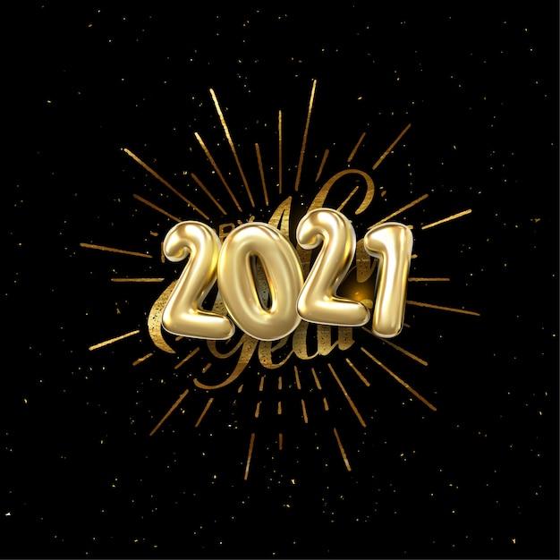 Feliz 2021 ano novo. ilustração de férias com letras composição e explosão. rótulo vintage texturizado dourado Vetor Premium