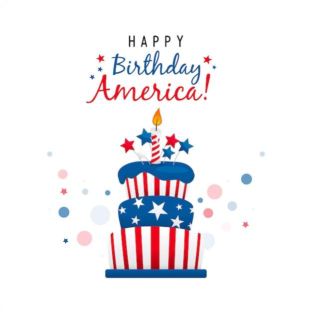 Feliz aniversário américa com cartão de bolo Vetor Premium