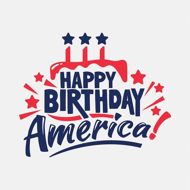 Feliz aniversario america !. dia da independência Vetor Premium