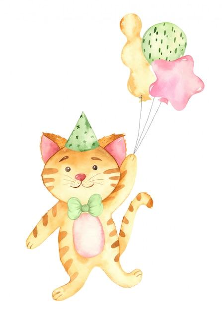 Feliz aniversário aquarela bebê gengibre gato e balões Vetor Premium