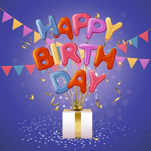 Feliz aniversário balão letras fundo Vetor grátis