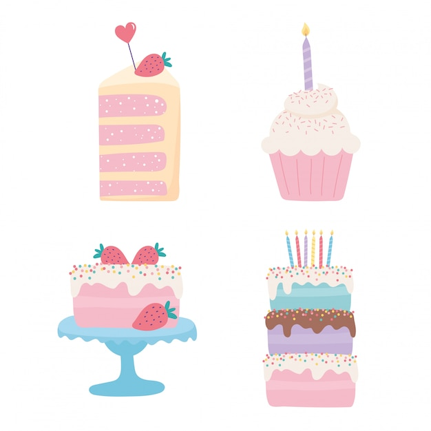 Feliz aniversário, bolos doces cupcake frutas velas conjunto de ícones festivos de festa de celebração Vetor Premium