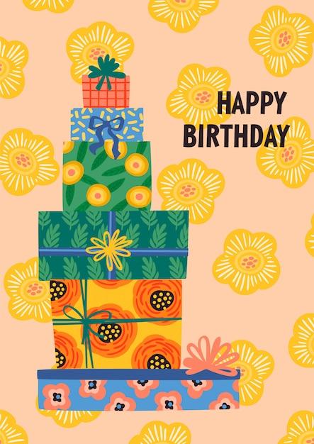 Feliz aniversário. caixas de presente bonito. Vetor Premium