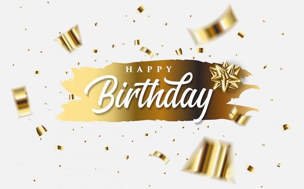 Feliz aniversário cartão com ilustrações de ouro folio pedaços de papel e as palavras feliz aniversário branco em ouro. Vetor Premium