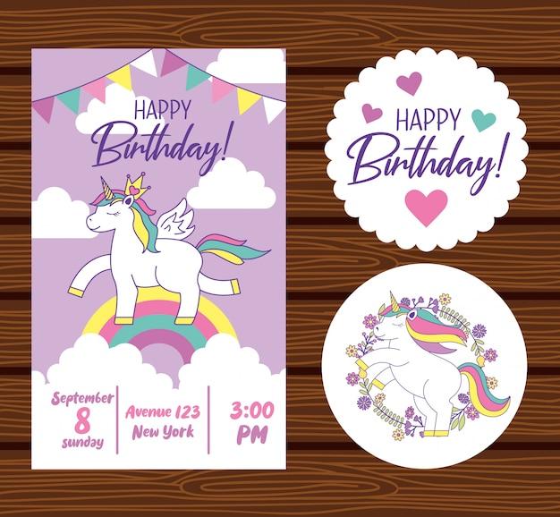 Feliz aniversário, cartão, com, unicórnio Vetor Premium
